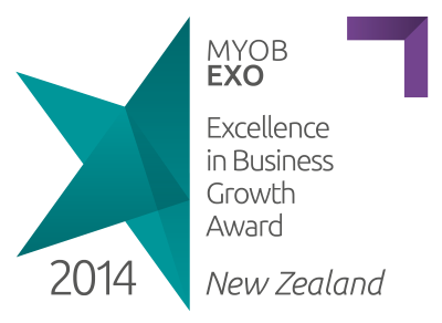 Brunton MYOB EXO Excellence in business growth award in New Zealand 2014.